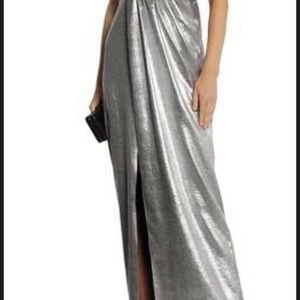 Halston Heritage Silver Lame Gown (Bridesmaid)